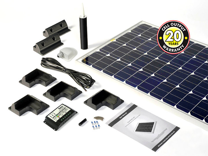 Motorhome, Campervan & Boat solar panel kits for sale. stpmh150pb